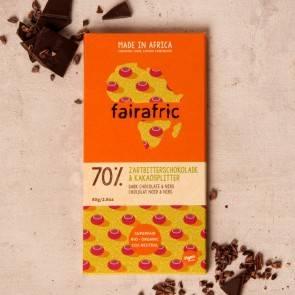 Fairafric vegane Bio-Zartbitterschokolade 70% Kakaosplitter